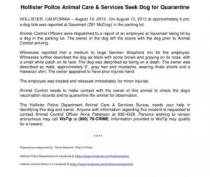 Hollister Police Dept. Press Release
