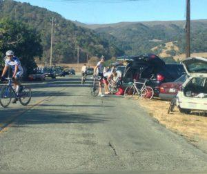 Bicyclists preparing for Fremont Peak Hill Climb