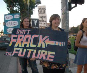 Protesters against fracking in Hollister last October.
