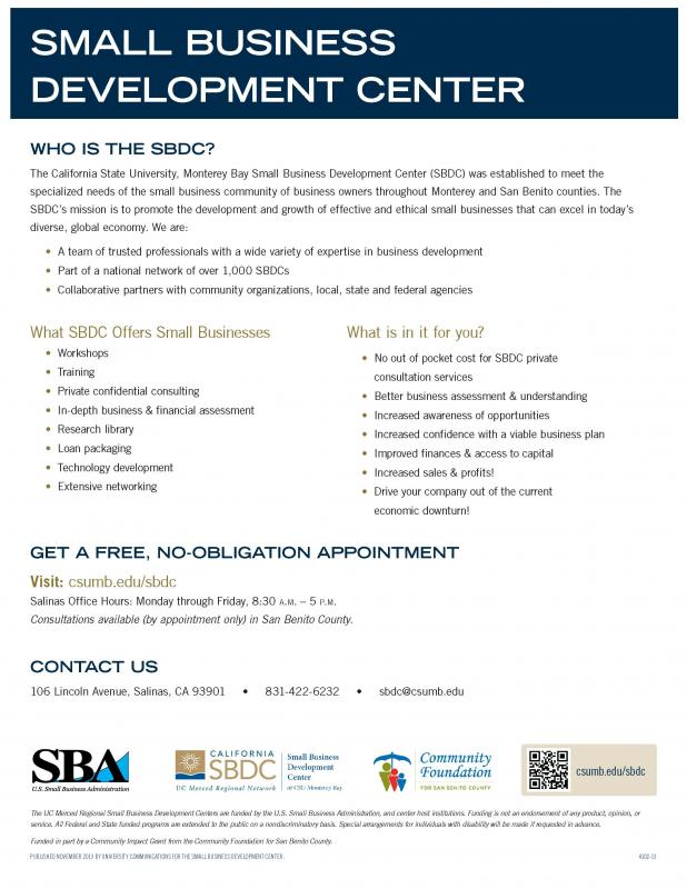 SBDC Services for San Benito County