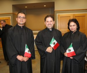 Victor Gomez (left), Oscar Ramos (center) and Nazhat Parveen Sharma (right) at an April 3 ceremony where they received honorary doctorates. Photo provided by Victor Gomez.