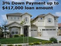 Three percent down on loans up to $417,000