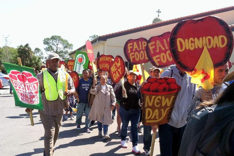 Coalition of Immokalee Workers' march to Publix headquarters in Lakeland, FL. Courtesy of Rev. Havens and his wife Lani.