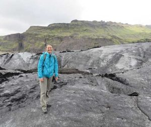 Shellito, pictured here at a glacier in Southern Iceland, was awarded a Fulbright grant to study and teach in Ecuador. Photo Courtesy of