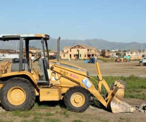 Bulldozer and homes under construction off San Benito Street, southeast of San Benito High School. Jason McCormick Photo.
