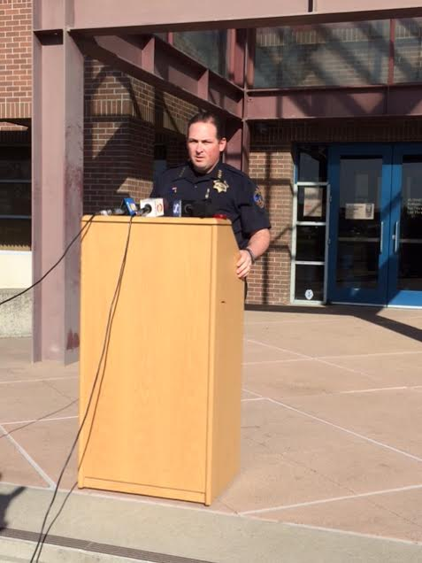 Hollister Police Chief David Westrick addresses the media at a press conference outside police headquarters Monday.