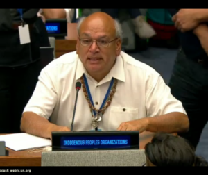 Val (Valentin) Lopez making a speech before a U.N. body. Courtesy of the United Nations Permanent Forum on Indigenous Issues.