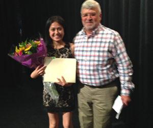 Scholarship recipient Nubia Resendiz and Class of 1971 Scholarship President Rudy Bermudes at the 2015 SBHS Senior Awards Night.