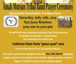 Flier announcing the Amah Mutsun Tribal Band's Day of Prayer.