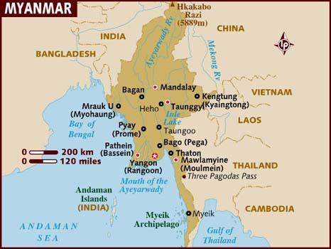 Map of Myanmar. Courtesy of lonelyplanet.com