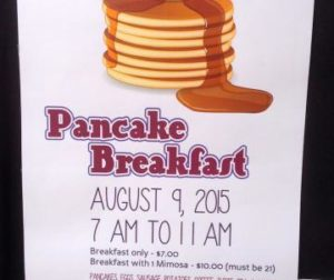 Flier announcing the pancake breakfast hosted by the Ladies Auxiliary VFW Post 6359.