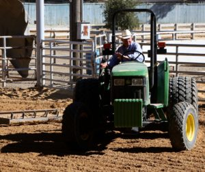 Lund grooms the arena for the San Benito County Fair Horse Show at Bolado Park Event Center
