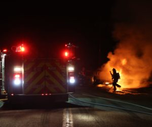 Car engulfed in flames as Hollister Fire Department puts it out.