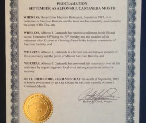 Proclamation from the city of San Juan Bautista declaring September, Alfonso J. Castañeda month. Photo by Frank Perez.