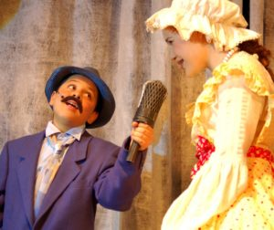 Alejandro Manzo as Jay Bird and Emma Zamora as the Ugly Ducklings Mother Ida in Honk! Jr opening April 15