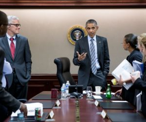 President Barack Obama concludes a National Security Council meeting in the Situation Room of the White House