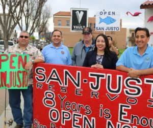 The protest to open San Justo Reservoir began on Facebook.