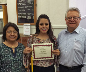 Melissa Moctezuma was one of two 2016 Baler graduates who received the Class of 1971 Scholarship, presented by 1971 Balers Martha Hernandez Duran and Sal Duran.