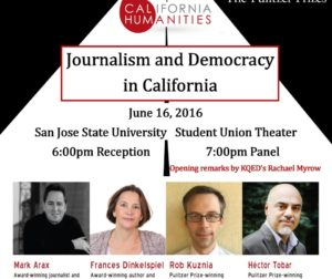 """Journalism and Democracy in California"" event poster. Courtesy of the California Humanities."