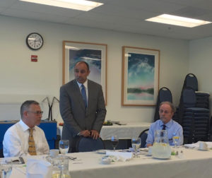 Jimmy Panetta (center) speaks to San Benito Medical Associates members.