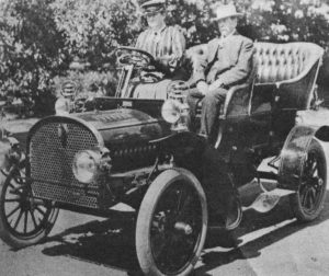 "That's ""Kate"" behind the wheel with husband James F. Dunne alongside."