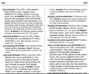 A portion of the Mutsun dictionary. Courtesy of Natasha Warner, Lynnika Butler and Quirina Geary. 2016. Mutsun-English English-Mutsun Dictionary: mutsun-inkiS inkiS-mutsun riica pappel. Language Documentation & Conservation Special Publication no. 11. Honolulu: University of Hawai'i Press.  672 pages.