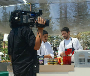 Mike Fisher, right, and sous chef, James Maldonado in the heat of the battle.