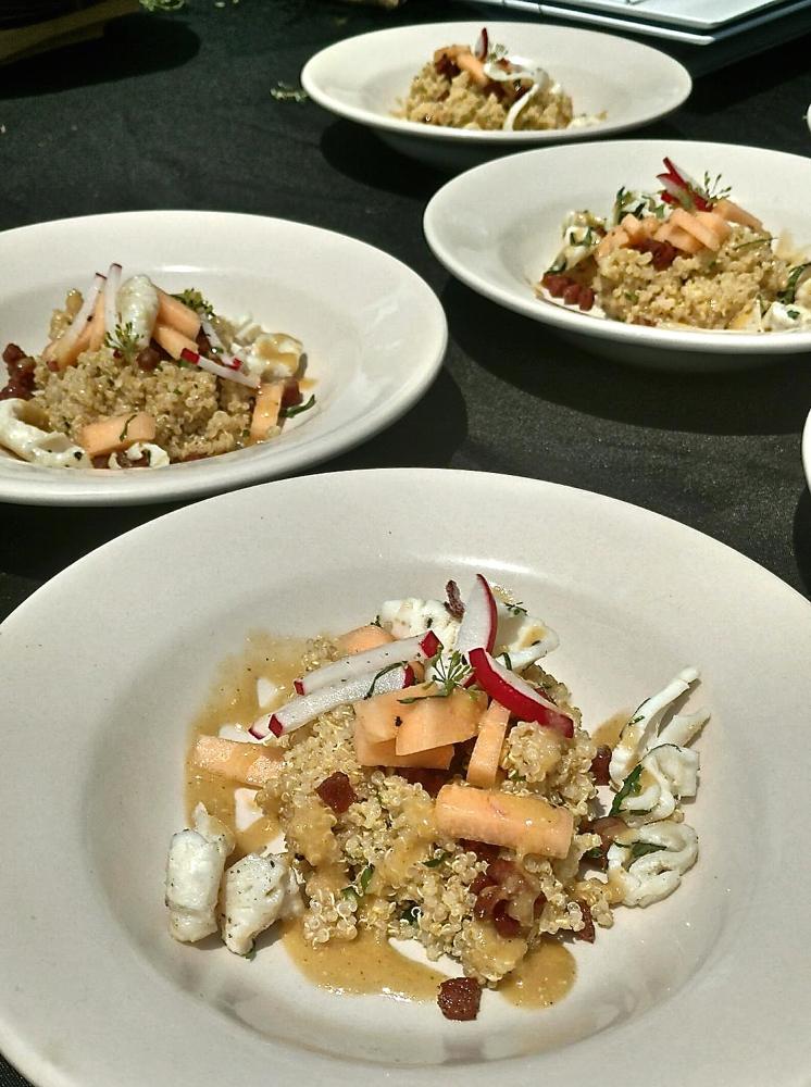 Quinoa and calamari.