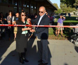 .Elizabeth Martinez, HSD Board President and Cal Barett, president of Otto Construction.