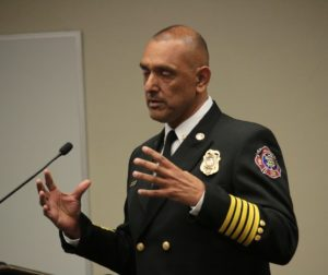 Chief Bob Martin Del Campo spelled out what he sees as the future needs for the fire department. Photos by John Chadwell.