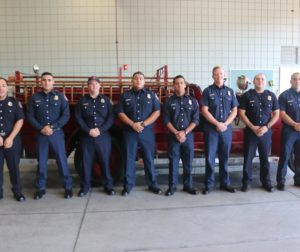 New full time firefighters, left to right:  Jimmy Holguin, Vincent Munoz, Cortney Young, Adolfo Aguilar, Nathan Castro, Stephen Hanson, E. Johnny Amescua, and Michael Dariano.