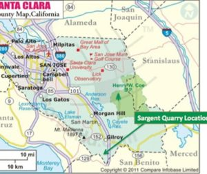 A map of the proposed Sargent Quarry mining project. Courtesy of Santa Clara County).