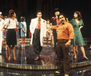 "Luis Valdez (center right) with the cast of the world premiere of ""Zoot Suit"" at the Mark Taper Forum in 1978. Photo by Jay Thompson."
