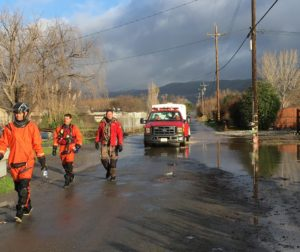 A swift-water rescue team from San Jose evacuated 34 people from Lovers Lane during the Jan. 2017 flooding. Photo by John Chadwell.