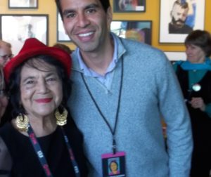 Civil rights activist Dolores Huerta and former Hollister resident, Rick Rivas. Photo by Frank Perez.