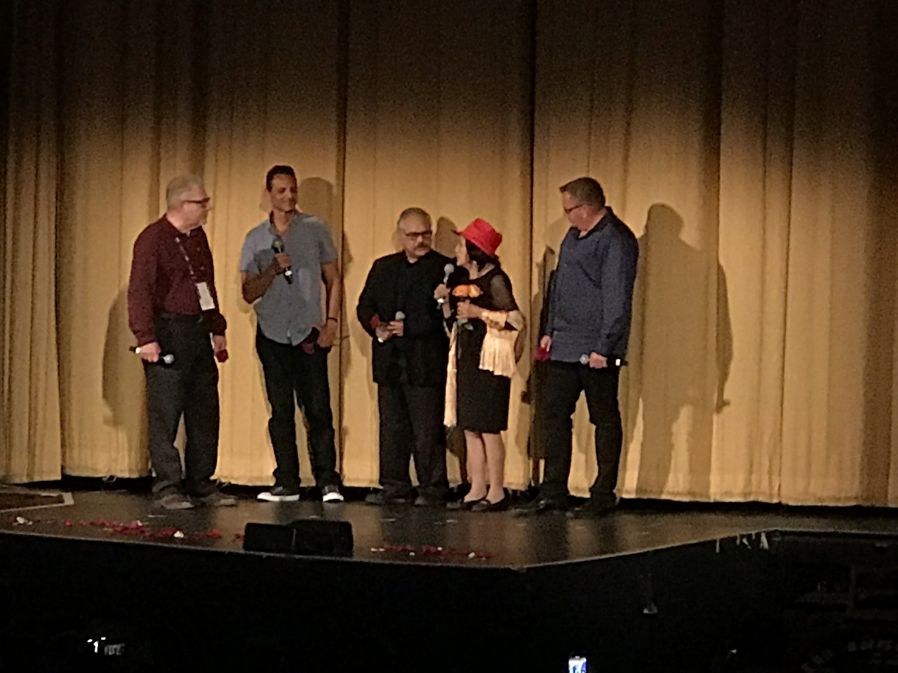 Discussion following the film. Second from left, Ben Pratt, middle, Luis Valdez, and second from right, Dolores Huerta. Photo courtesy of Rick Rivas.