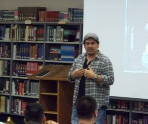 "Author Tim Z. Hernandez discusses his book, ""All They Will Call You,"" with SBHS students. Photo by Frank Perez."