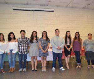 Recipients of the 2017 Latino Generations Scholarship Program. (left to right) Adriana Duran, Giovanna Flores, Ruben Sobreyra, Diana Sanchez Ruiz, Karina Rosas, Julio Salazar, Yumira Perez, Georgina Patino, and Vivian De Jesus