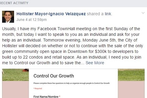Mayor Ignacio Velazquez, who owns property adjacent to the 400 Block, took to Facebook to encourage the public to oppose the projected redevelopment of the downtown corner.