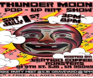 "Flier for ""Thunder Moon,"" Vertigo's annual, summer pop-up art show. Courtesy of Jarae Tanner."