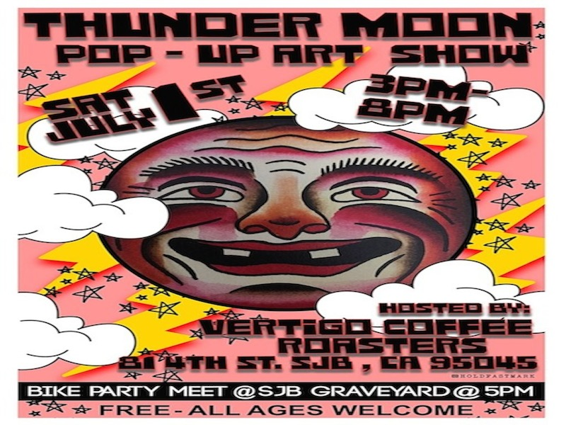 """Flier for """"Thunder Moon,"""" Vertigo's annual, summer pop-up art show. Courtesy of Jarae Tanner."""
