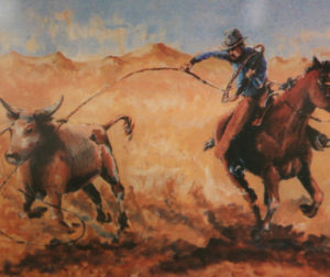 Painting of a cowboy laying out the Figure 8, by Tom Medeiros, a past Bolado Park Manager and Saddle Horse Show Manager.