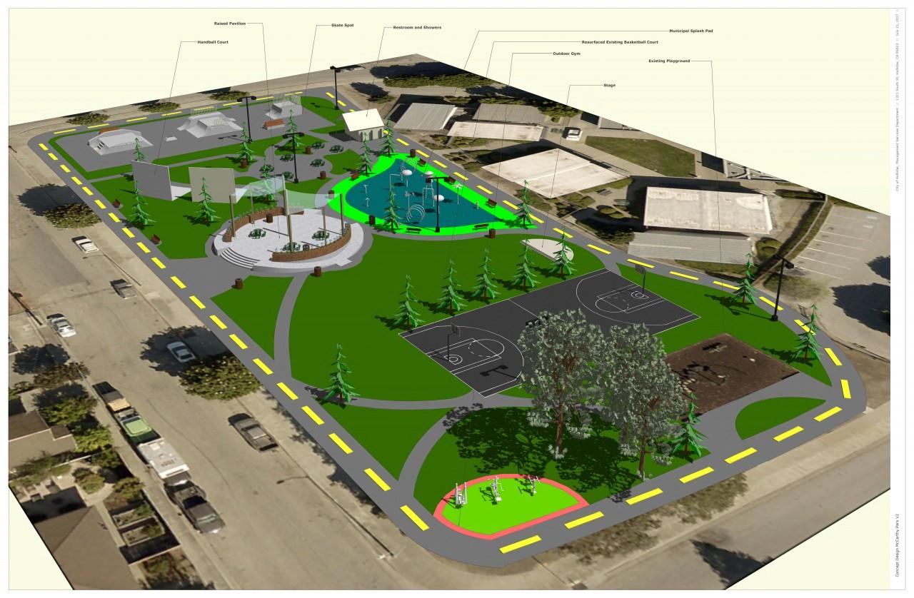 McCarthy Street Park revitalization project. Conceptual Plan #2.