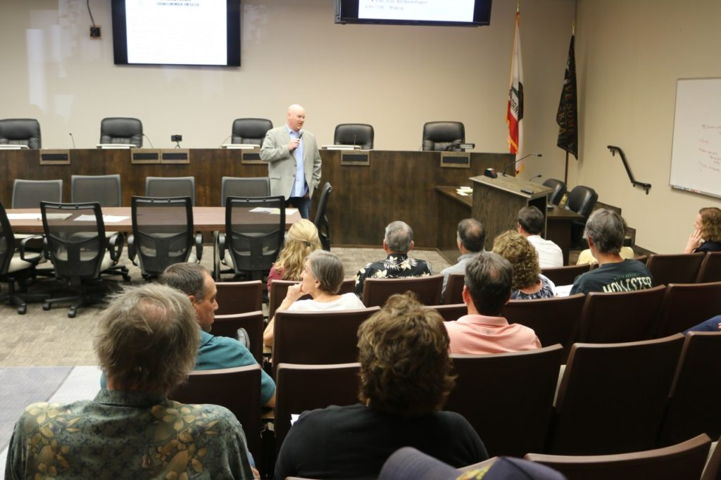 Councilman Jim Gillio used social media to invite the public to an information meeting concerning the 400 Block. Photos by John Chadwell.