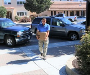 Mayor Ignacio Velazquez showed up Tuesday morning to deliver two boxes of petitions. Photos by John Chadwell.
