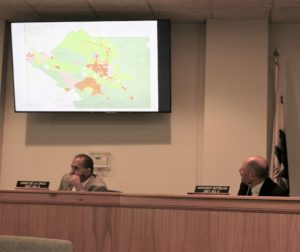 Supervisor Anthony Botelho, right, looks at a map of possible marijuana operations throughout the county. Photos by John Chadwell.