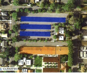 The Solar PV shade structures (shown in blue) will be located in the North Parking Lot.