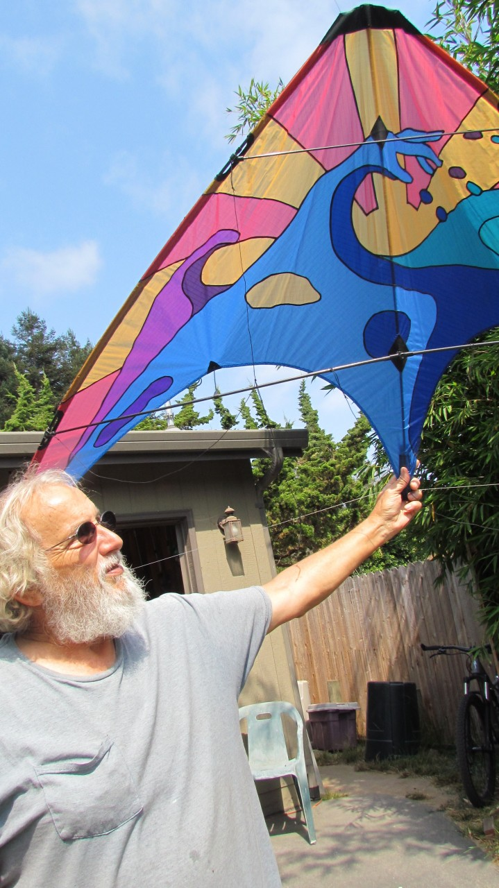 Paul Welchs with the ultra lite kite he made. .JPG