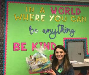New teacher Diane Mateus with her basket.