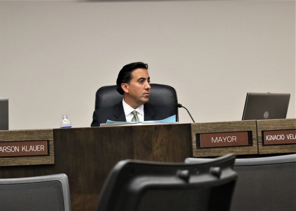Mayor Ignacio Velazquez was absent from the closed door session in which the council voted for the petition to be added to next meeting. Photos by John Chadwell.